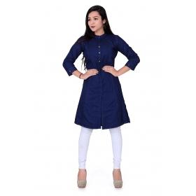 Pari Creation Women's Navy Blue Solid Cotton Straight Fit Kurti