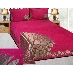 Bedsheet(premium Chenille 1 Double Bedsheet With 2 Pillow Cover