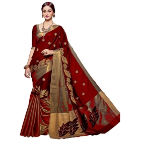Poplin Linecot Ladylove Embroidered Poly Cotton Red Color Saree