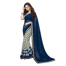 Poplin Women's Bollywood Half-half Floral Design Blue & Red Flower Color Georgette Casual Wear Sarees