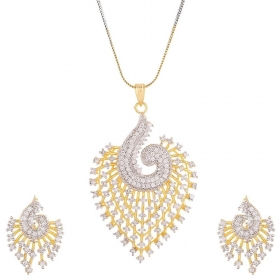 CZ Peacock Pendant Set with Chain and Earrings for Girls and Women