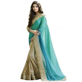 Poplin Women's Georgette Heavy Embroidered Dual Blue Turquoise Color Fancy Party Wear Sarees