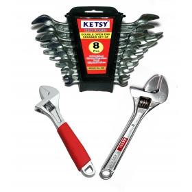 Ketsy 724 Hand Tool Kit 10 Pcs.(doe Spanner 8 Pcs.,1 Adjustable Wrench 6 Inch,1 Adjustable Wrench 8 Inch)