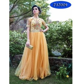 Light Yellow Embroidery Net  Floor Length Gown