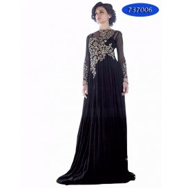 Black Embroidery Georgette  Floor Length Gown