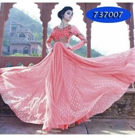 Light Pink Embroidery Brasso Net  Floor Length Gown