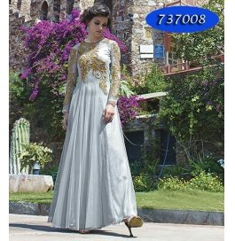 Gray Embroidery Georgette  Floor Length Gown