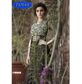 Brown Embroidery Georgette  Floor Length Gown