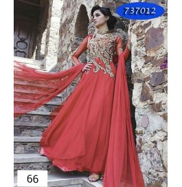 Red Embroidery Georgette  Floor Length Gown