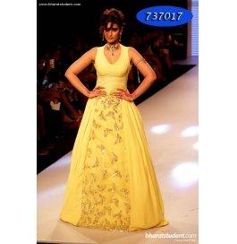Yellow Plain Georgette, Net  Stylish  Gown