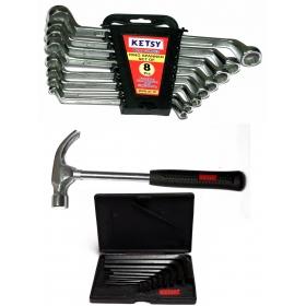 Ketsy 747 Hand Tool Kit(ring Spanner Set 8 Pcs,claw Hammer Steel Shaft 1/2lb,allen Key Set 9 Pcs