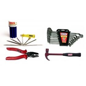 Ketsy 752 Hand Tool Kit(ring Spanner Set 8 Pcs.,plier 8 Inch.,claw Hammer Marron Steel Shaft 1/2lb,screwdriver 9 Pcs.)