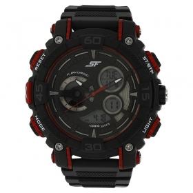 Sonata Black Dial Plastic Strap Watch (77070pp03j)
