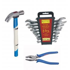 Ketsy 773 10 Pcs.hand Tool Kit(8 Pcs.doe Spanner,1 Claw Hammer Wooden 3/4lb,1 Combination Plier 8 Inch)