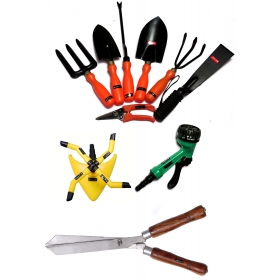 Ketsy 783 Gardening Tool Kit - Set Of 10(trowel,weeder,transplantor,cultivator,khurpa,fork,pruning Shear,sprinkler 4 Arm,spray Gun 7 Way Nozzle,hedge Shear 12 Inch)