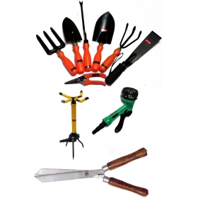 Ketsy 784 Gardening Tool Kit - Set Of 10(trowel,weeder,transplantor,cultivator,khurpa,fork,pruning Shear,sprinkler Iron Base,spray Gun 7 Way Nozzle,hedge Shear 12 Inch)