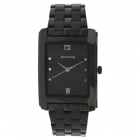 Sonata Black Dial Stainless Steel Strap Watch (7953nm01c)