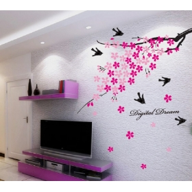 Ay936 Pink Tree Nature Wall Sticker  Jaamso Royals