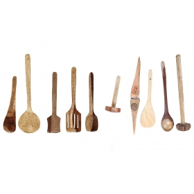 Desi Karigar Wooden Ladle Set Of 10 Piece