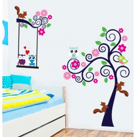 Cc6931 Zula And Tree With Birds And An Nature Wall Sticker  Jaamso Royals