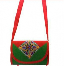 Handicraft Kutchi Green Sling Bags