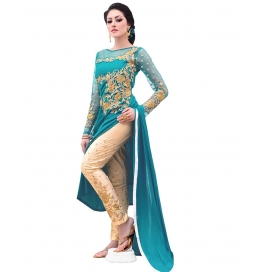 Jade Green Cotton Satin Suit With Bottom And Dupatta