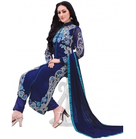 Blue Georgette Suit With Bottom And Dupatta
