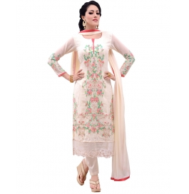 Off White Georgette Suit With Bottom And Dupatta