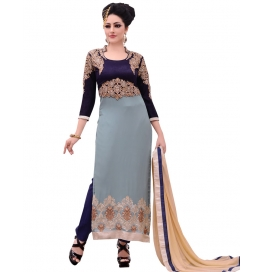 Gray Georgette Suit With Bottom And Dupatta