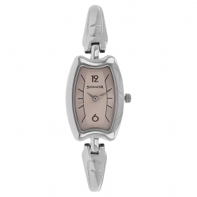 Sonata Pink Dial Stainless Steel Strap Watch (8116sm02)