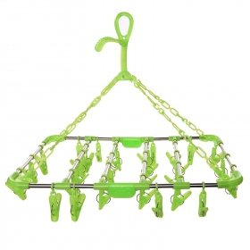 Plastic Fold-able Portable Hanging Dryer Clothes Drying Hanger Rack With 30 Clips (green)