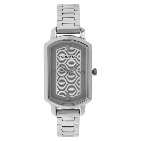 Sonata Patterned Silver Dial Stainless Steel Watch (8139sm01)