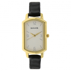 Sonata Patterned White Dial Leather Strap Watch (8139yl01)