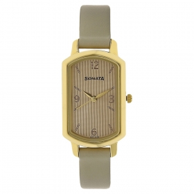 Sonata Patterned White Dial Leather Strap Watch (8139yl02)
