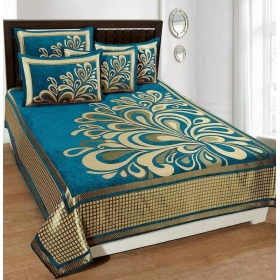 Bedsheets For Double Bed(premium Chenille 1 Double Bedsheet With 2 Pillow
