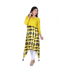 Pari Creation Women's Yellow Printed Rayon Anarkali Kurti