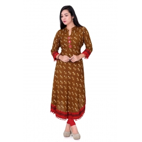 Pari Creation Women's Mustard Printed Cotton Anarkali Kurti