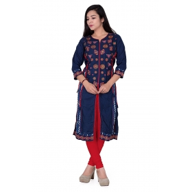 Pari Creation Women's Blue Embroided Cotton Straight Fit Kurti