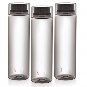 Cello H2o Unbreakable  Bottle 1 Litre Set Of 3 Black