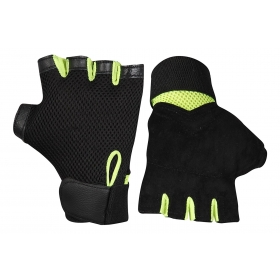 Leather Weight Lifting/gym Gloves (black And Green)