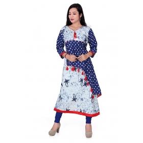 Pari Creation Women's Blue Printed Cotton Anarkali Kurti