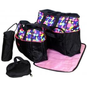 5pcs/set Baby Diaper Bag Nappy Mummy Bag Doted Maternity Handbag Changing Baby Messenger Bag (pink)