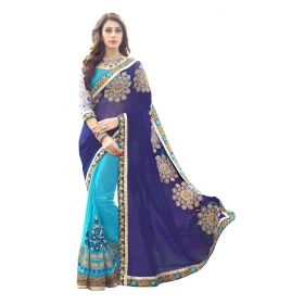 Poplin Women's Georgette Heavy Embroidered Blue Color Fancy Party Wear Sarees