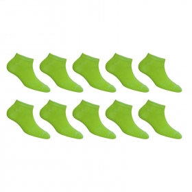 Footmate Women Parrot Green Ankle Socks (10 Pair Pack)