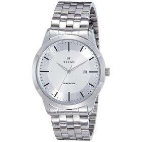 Titan Men's Analogue Silver Dial Watch - 1584sm03