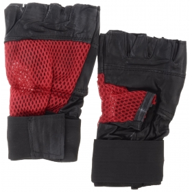 Synthetic Leather Half-finger Gloves - Red