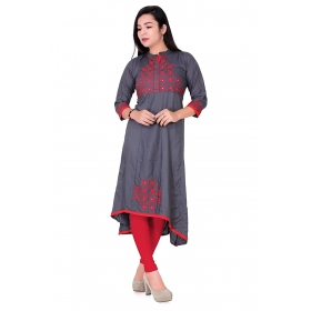Pari Creation Women's Gray Embroided Rayon Anarkali Kurti