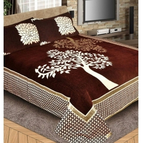 Fresh From Loom 500 Tc Tree Design Coffe Color Premium Chenille Bed Cover With 2 Pillow Cover
