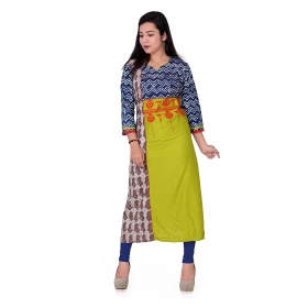 Pari Creation Women's Multi Embroided Cotton Straight Fit Kurti