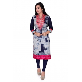 Pari Creation Women's Blue Pink Embroided Cotton Straight Fit Kurti